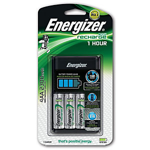 Energizer 1Hour Charger Caricabatterie + 4 batterie Extreme AA precaricate da 2.300 mAh UE