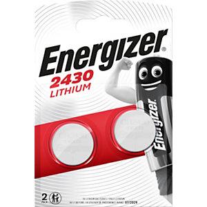 Energizer 2430 Miniature Lithium Pilas de botón CR2430 3 V, 290 mAh, no recargables, blíster de 2