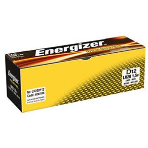 Energizer Alkaline Industrial Pilas alcalinas D/LR20 1,5 V, no recargables, paquete de 12