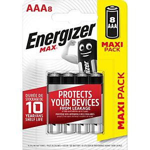 Energizer Alkaline Max Pilas alcalinas AAA/LR03 1,5 V, no recargables, blíster de 8