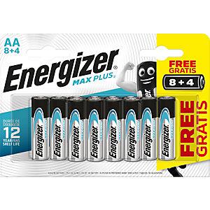 Energizer Alkaline Max Plus Pilas alcalinas AA/LR06 1,5 V, no recargables, blíster de 12