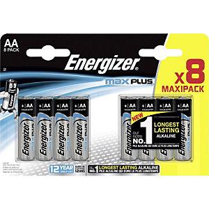 Energizer Alkaline Max Plus Pilas alcalinas AA/LR06 1,5 V, no recargables, blíster de 8