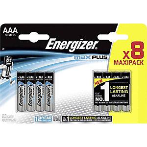 Energizer Alkaline Max Plus Pilas alcalinas AAA/LR03 1,5 V, no recargables, blíster de 8