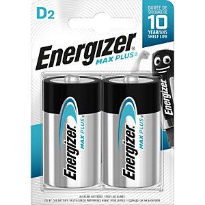 Energizer Alkaline Max Plus Pilas alcalinas D/LR20 1,5 V, no recargables, blíster de 2
