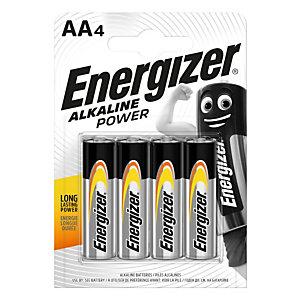 Energizer Alkaline Power Pilas alcalinas AA/LR06 1,5 V, no recargables, blíster de 4