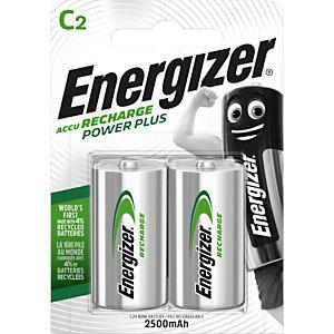 Energizer Batterie ricaricabili Power Plus HR14/C da 2500 mAh, Confezione da 2 (confezione 2 pezzi)