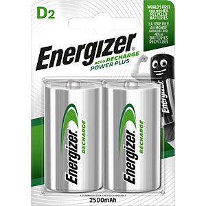 Energizer Batterie ricaricabili Power Plus HR20/D da 2500 mAh, Confezione da 2 (confezione 2 pezzi)