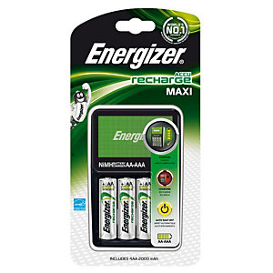 Energizer Caricabatterie Maxi Per batterie AA e AAA + 4 AA a 2000 mAh<BR>