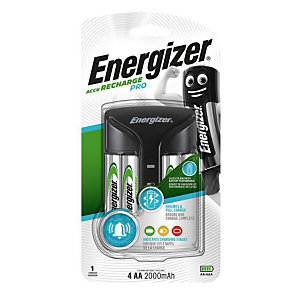 Energizer Caricabatterie Pro per Batterie AA e AAA + 4 AA a 2000 mAh<BR>