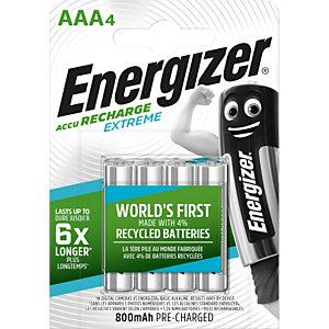 Energizer Extreme Batterie ricaricabili AAA / NH12 800 mAh, Confezione da 4 pezzi, Precaricate (confezione 4 pezzi)