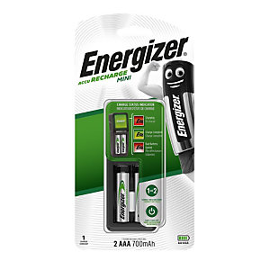 Energizer Mini Charger Caricabatterie, Include 2 batterie AAA, 2 terminali singoli di ricarica AA/AAA, Ricarica durante la notte, NiMH
