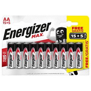 Energizer Pile alcaline AA / LR6 Max - Pack Promo 15 + 5 GRATUITES