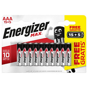 Energizer Pile alcaline AAA / LR3 Max - Pack Promo 15 + 5 GRATUITES