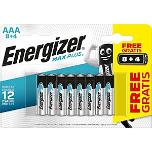Energizer Pile alcaline AAA / LR3 Max Plus Pack Promo 8 + 4 GRATUITES