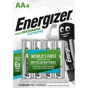 Energizer Pile rechargeable AA / HR6 Extreme - 2300 mAh - Lot de 4 accus