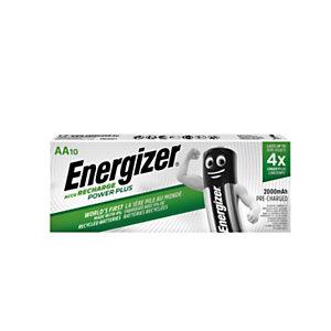Energizer Pile rechargeable AA / HR6 Power Plus - 2000 mAh - Lot de 10 accus