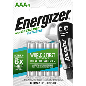 Energizer Pile rechargeable AAA / HR3 Extreme - 800 mAh - Lot de 4 accus
