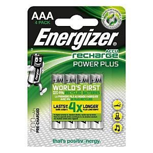 Energizer Piles rechargeables Extreme AAA/NH12 700 mAh préchargées, paquet de 4