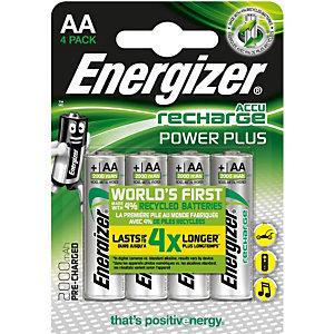 Energizer Piles rechargeables Power Plus AA/NH15 2000 mAh préchargées, paquet de 4