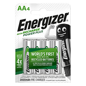 Energizer Power Plus Batterie ricaricabili AA / NH15 2000 mAh, Confezione da 4, Precaricate (confezione 4 pezzi)