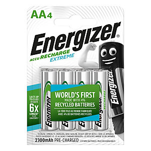 Energizer Recharge Extreme Pilas precargadas AA/NH15, 2300mAh, recargables, blíster de 4