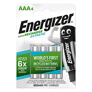 Energizer Recharge Extreme Pilas precargadas AAA/NH12, 800mAh, recargables, blíster de 4