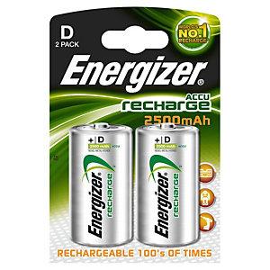 Energizer Recharge Power Plus Pilas D/HR20, 2500 mAh, recargables, blíster de 2