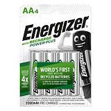 Energizer Recharge Power Plus Pilas precargadas AA/NH15, 2000 mAh, recargables, blíster de 4