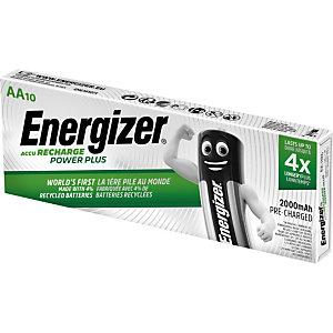 Energizer Recharge Power Plus Pilas precargadas AA/NH15, 2000 mAh, recargables, paquete de 10