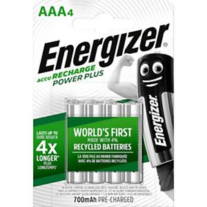 Energizer Recharge Power Plus Pilas precargadas AAA/NH12, 700 mAh, recargables, blíster de 4