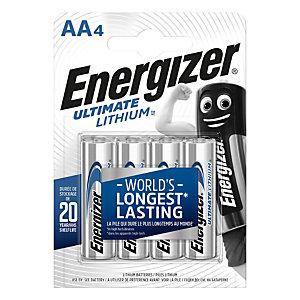 Energizer Ultimate Lithium Pilas de litio AA/LR06 1,5 V, 2000 mAh, no recargables, blíster de 4