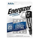 Energizer Ultimate Lithium Pilas de litio AAA/LR03 1,5 V, 800 mAh, no recargables, blíster de 4