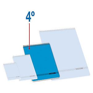 ENRI Bloc con tapa, 4º, cuadriculado, 80 hojas, cubierta cartón, azul