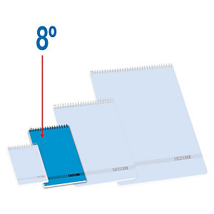 ENRI Bloc con tapa, 8º, cuadriculado, 80 hojas, cubierta cartón, azul