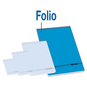 ENRI Bloc con tapa, Folio, cuadriculado, 80 hojas, cubierta cartón, azul