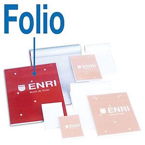 ENRI Bloc con tapa, Folio, cuadriculado, 80 hojas, cubierta cartón plastificado, rojo