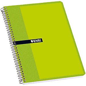 ENRI Cuaderno, 4º, cuadriculado, 80 hojas, cubierta dura cartón, colores surtidos