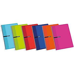 ENRI Cuaderno, Folio, milimetrado, 80 hojas, cubierta dura cartón, colores surtidos