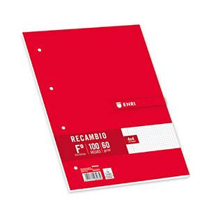 ENRI Recambio de hojas, Folio, 4 taladros para archivador, cuadriculado, 100 hojas