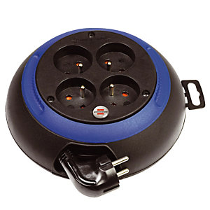 Enrouleur électrique domestique Brennenstuhl, Design-Box 4 prises, câble 3m H05VV-F 3G1,0, coloris bleu / noir
