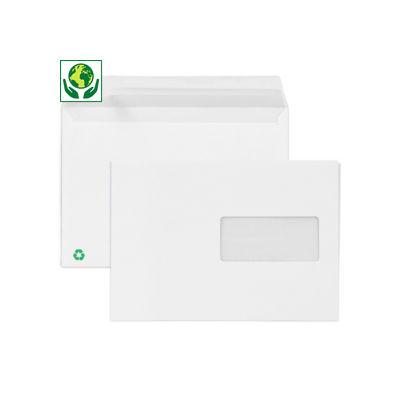 Enveloppe commerciale blanche recyclée auto-adhésive avec fenêtre 80g/m² LA COURONNE