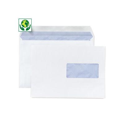 Enveloppe commerciale vélin blanc auto-adhésive avec fenêtre 80g/m²