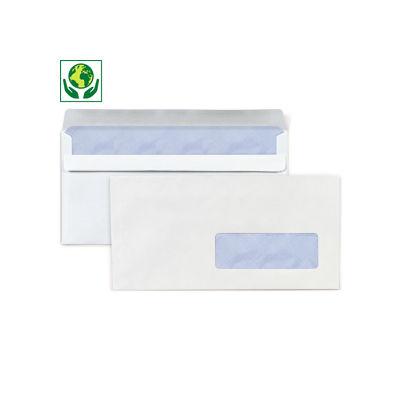 Enveloppe commerciale vélin blanc autocollante avec fenêtre 80g/m²
