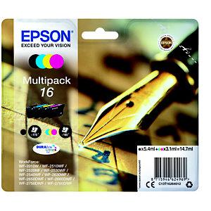 Epson 16, C13T16264012, Cartucho de Tinta, DURABrite Ultra, Bolígrafo y Crucigrama, Negro, Cian, Magenta, Amarillo