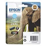 Epson 24XL, C13T24354020, Cartucho de Tinta, Claria Photo HD Ink, Elefante, Cian Claro, Alta Capacidad