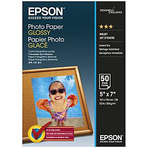 Epson Glossy Carta Fotografica 130 x 180 mm per Stampanti Inkjet, 200 g/m², Bianca Lucida (confezione 50 fogli)