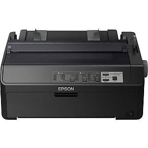 Epson LQ-590II, 550 caractères par seconde, 10 caractères par pouce, 6 copies, Code 128 (A/B/C),Code 39,EAN13,EAN8,Interleaved 2/5,POSTNET,UPC-A,UPC-E, ISO 8859-15, Italique, PC437, PC850, PC858, Roman 8, Enveloppes, Étiquettes, Papier ordinaire, Rouleau