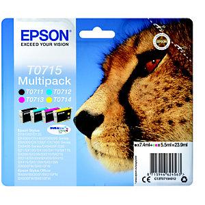 Epson T0715, C13T07154012, Cartucho de Tinta, DURABrite Ultra, Guepardo, Negro, Amarillo, Cian, Magenta