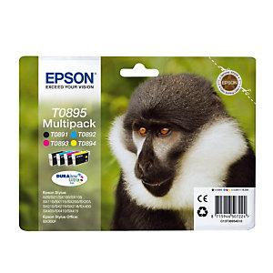 Epson T0895, C13T08954010, Cartucho de Tinta, DURABrite Ultra, Mono, Negro, Amarillo, Cian, Magenta