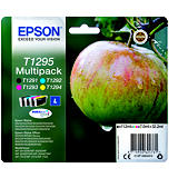Epson T1295, C13T12954012, Cartucho de Tinta, DURABrite Ultra, Manzana, Negro, Cian, Magenta, Amarillo